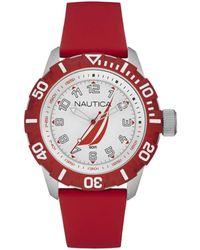 Nautica Orologio Analogico Quarzo Unisex Adulto con Cinturino in Silicone NAI08506G - Rosso