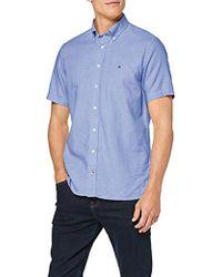 Tommy Hilfiger Cotton Linen Dobby Shirt S/S, Camisa para Hombre - Azul