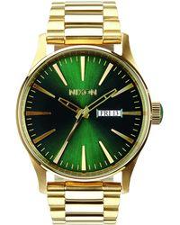 Nixon Armbanduhr Sentry Edelstahl Gold / Green Sunray - Grün