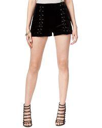 Guess S Dorian Velvet Lace-Up Shorts Black XS - Schwarz