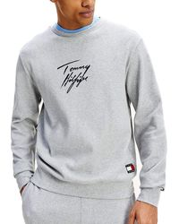 Tommy Hilfiger Signature Logo Stretch Organic Cotton Sweatshirt For - Grey
