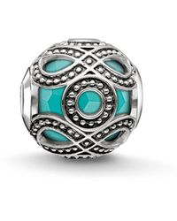Thomas Sabo Bead Ethno Karma Beads 925 Sterling Silber geschwärzt imitierter Türkis K0209-878-17 - Mehrfarbig