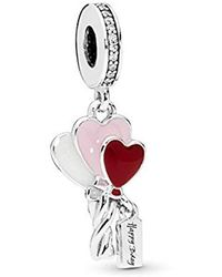 PANDORA - Charm Pendant In Sterling Silver Heart Balloons - Lyst