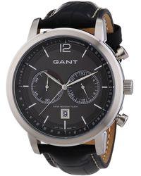 GANT Quartz Watch W10941 With Leather Strap - Grey