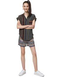 Desigual Shirt Short Sleeve Azhar Woman Brown Camisa para Mujer - Marrón