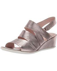 Ecco Shape 35 Wedge Sandal Open Toe Heels - Metallic