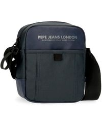 Pepe Jeans Factory Borsa a tracolla blu 15 x 19,5 x 6 cm poliestere e PU