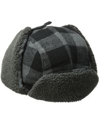 Levi's Buffalo Plaid Trapper Hat with Sherpa Lining - Noir