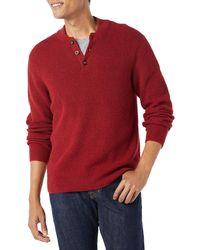 Amazon Essentials Long-sleeve Henley Jumper - Red