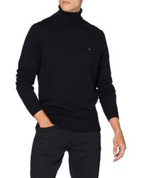 Tommy Hilfiger Luxury Wool Cotton Roll Neck Suéter - Azul