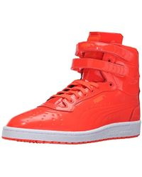 2bc89f508540 PUMA - Sky Ii Hi Patent Emboss Red Blast Mens High Top Sneakers - Lyst