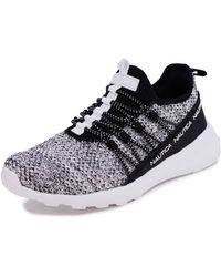 Nautica Fashion Slip-On Sneaker Jogger Comfort Running Shoes-Fleur-White/Black-7 - Multicolore