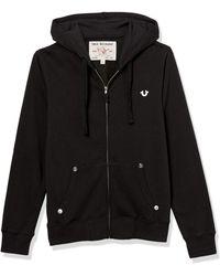 True Religion Classic Logo Long Sleeve Zip Up Hoodie Hooded Sweatshirt - Black