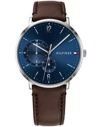 Tommy Hilfiger 1791508 Men's Brooklyn Leather Strap Watch - Blue
