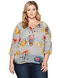 Lucky Brand - Plus Size Tucked Peasant Top - Lyst