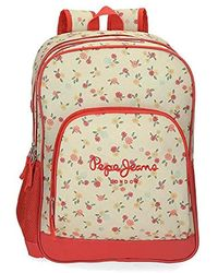 Pepe Jeans Joseline Backpack 44cm Double Compartment W/trolley - Red