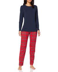 Tommy Hilfiger Jersey Set Ls Print Bas De Pyjama - Rouge