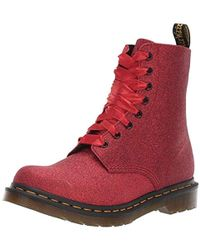 Dr. Martens 1460 Pascal Glitter Ankle Boots - Red