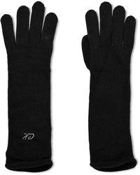 Calvin Klein Jeans Handschuhe Strick Wollmix mit Logo aus Steinen - Schwarz