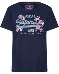 Superdry Vintage Logo Embroidered Floral T-shirt Eclipse Navy Xxs - Blue
