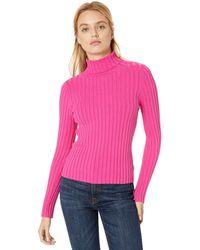 The Drop Amy Suéter entallado de tejido acanalado y cuello cisne - Rosa
