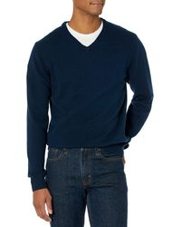 Amazon Essentials Midweight V-Neck Sweater Pullover-Sweaters - Azul