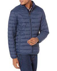 Amazon Essentials Lightweight Water-Resistant Packable Puffer Jacket teau - Bleu