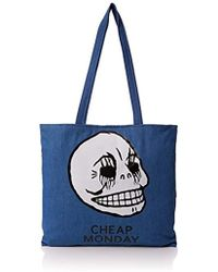 Cheap Monday - Unisex Adults' Rapid Tote Corpse Canvas And Beach Tote Bag Blue (rinsed Blue) - Lyst