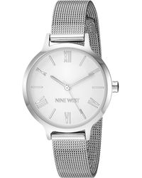 Nine West Nw/2229svsv Silver-tone Mesh Bracelet Watch - Metallic