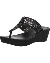 Kenneth Cole Reaction Fine Glitz T-strap Platform Sandal Wedge - Black