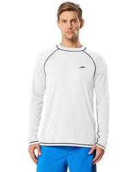 Speedo Upf 50+ Easy Long Sleeve Rashguard Swim Tee,white,large