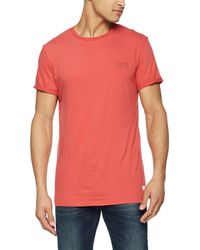 Superdry Label Lite Longline Tee T-Shirt - Rouge