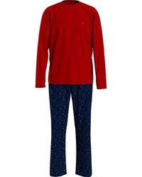 Tommy Hilfiger Cn LS Pant Jersey Set Print Juego de Pijama - Rojo