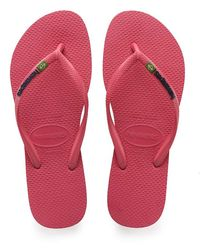 Havaianas Girls' Slim Brasil Logo Flip Flops - Multicolour
