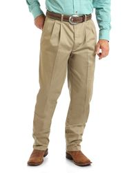 Wrangler 's Big & Tall Pleated Relaxed Fit Casual Pant - Neutro