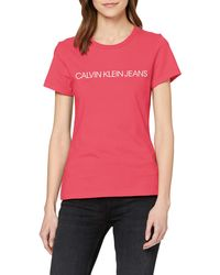 Calvin Klein Institutional Logo Slim Fit tee Camisa - Rosa
