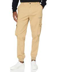 Calvin Klein Cargo Slim Mixed Med Cuffed Pantalones - Neutro