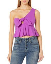 Susana Monaco Cropped Tie Front Top - Purple