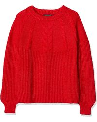Dorothy Perkins Lurex Cable Yoke. Jumper - Red