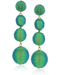 Kenneth Jay Lane - S 3 Green Thread Small To Large Wrapped Ball Pierced Earrrings W/ Dome Top - Lyst