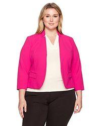 Nine West - Plus Size Solid Crepe Kiss Front Jacket - Lyst