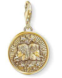 Thomas Sabo - S s-Charm-Pendentif Signe Zodiacal Gémeaux Charm Club Argent Sterling 925 plaqué or jaune 18 carats 1654-414-39 - Lyst