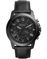 Fossil Orologio al quarzo cronografo Grant con cinturino in pelle nero per uomo FS5132IE
