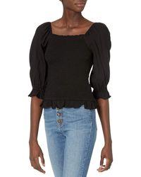 Goodthreads Crop Square Neck Puff-Sleeve Fluid Twill Woven Shirt Camisa - Negro