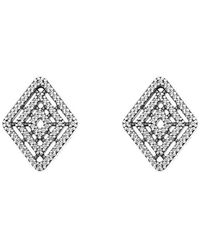 PANDORA Sterling Silver Geometric Lines Stud Earrings 296208CZ - Mettallic