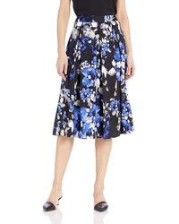 Tahari Printed Inverted Midi Pleat Skirt - Blue