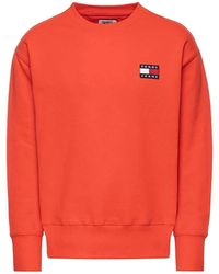 Tommy Hilfiger Badge Crew Sweater Flame Scarlet - Rosso
