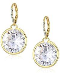 "Betsey Johnson - ""betsey Blue"" Large Cubic Zirconia Stone Gold Drop Earrings - Lyst"