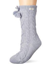 UGG Pom Fleece Lined Crew Sock - Blue