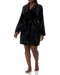 Amazon Essentials Mid-length Plush Robe - Black